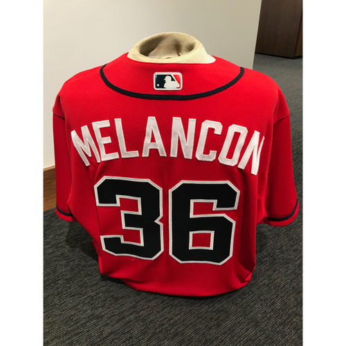 Photo of Mark Melancon 2019 Atlanta Braves Game-Used Los Bravos Day Jersey