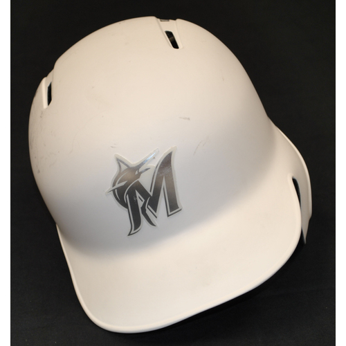 "Photo of Jon ""BIRDMAN"" Berti Miami Marlins Game-Used 2019 Players' Weekend Helmet"