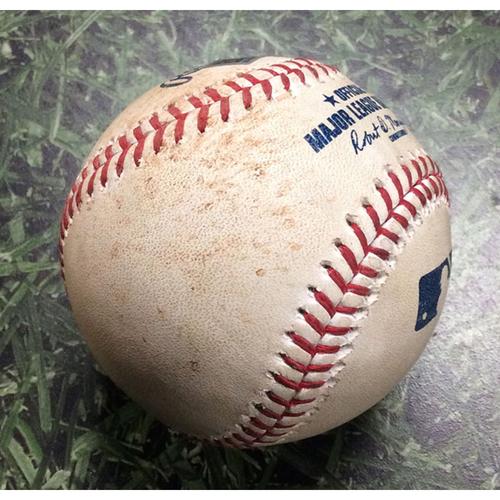 Photo of Game-Used Baseball HOU@MIL 09/03/19 - Jordan Lyles - Josh Reddick: RBI Single