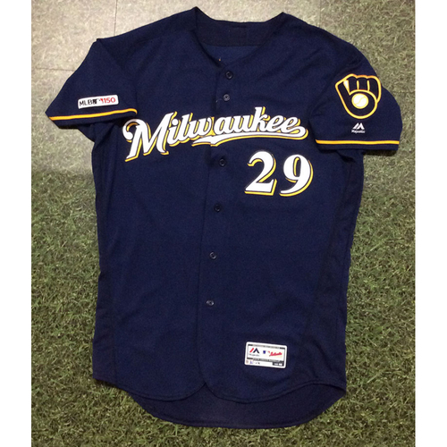 Photo of Tyler Austin 2019 Game-Used Navy Ball & Glove Jersey