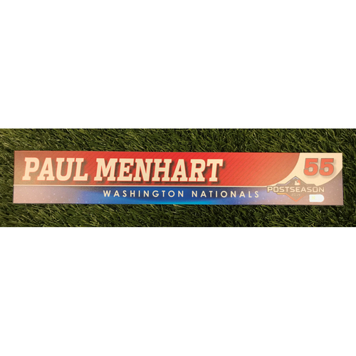 Photo of Game-Used Paul Menhart 2019 Postseason Locker Tag