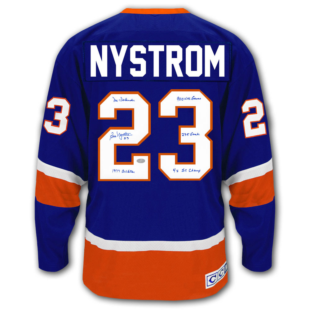 Bob Nystrom New York Islanders STATS CCM Autographed Jersey