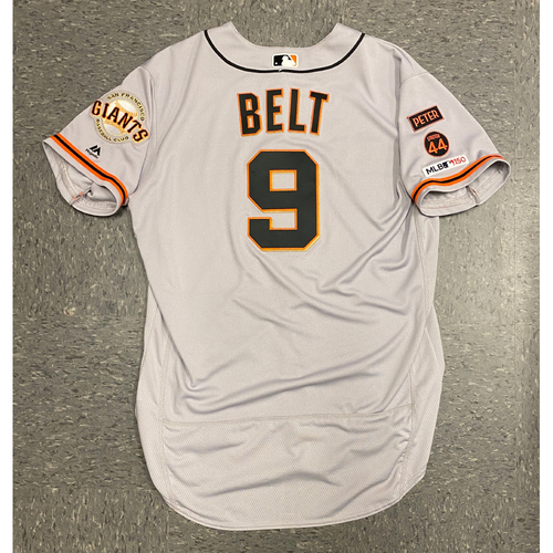 Photo of 2019 Game Used Road Opening Day Gray Jersey worn by #9 Brandon Belt on 3/28 @ San Diego Padres - Size 48