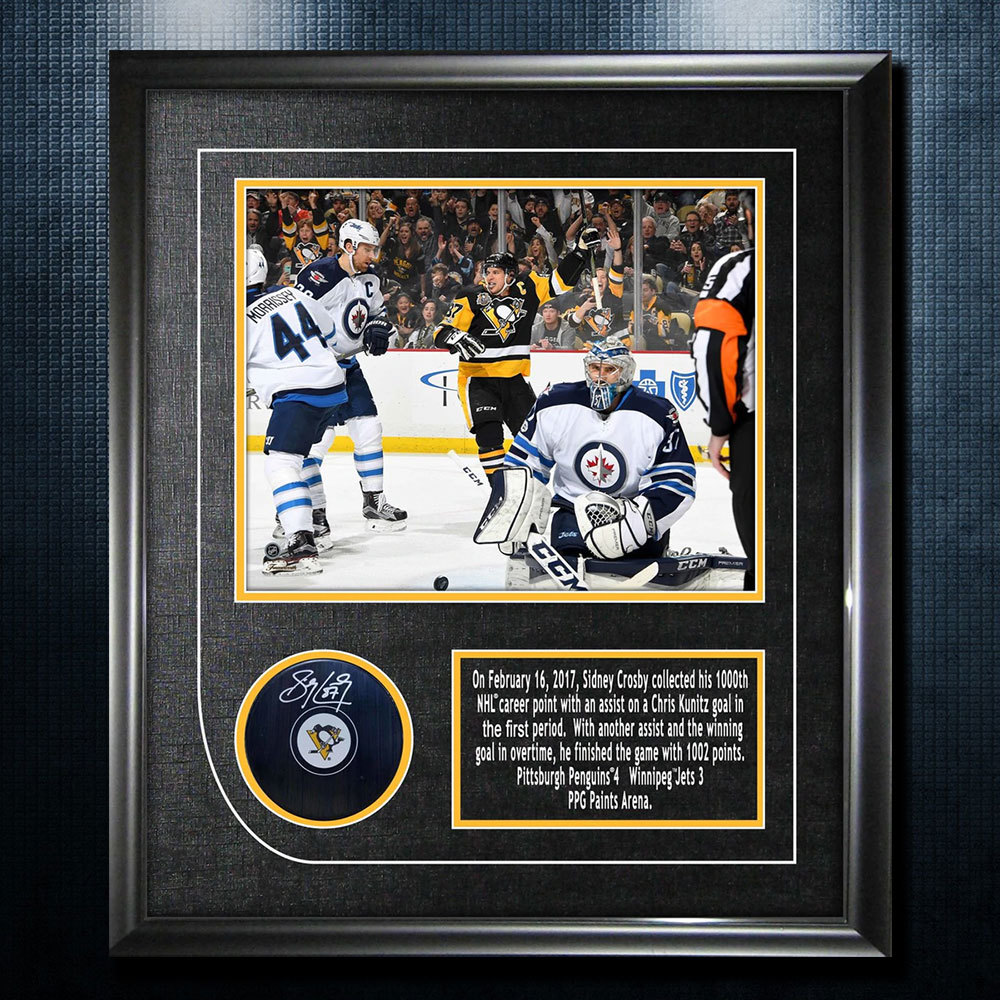 Sidney Crosby Pittsburgh Penguins 1000th Point Autographed Puck 18x16 Frame