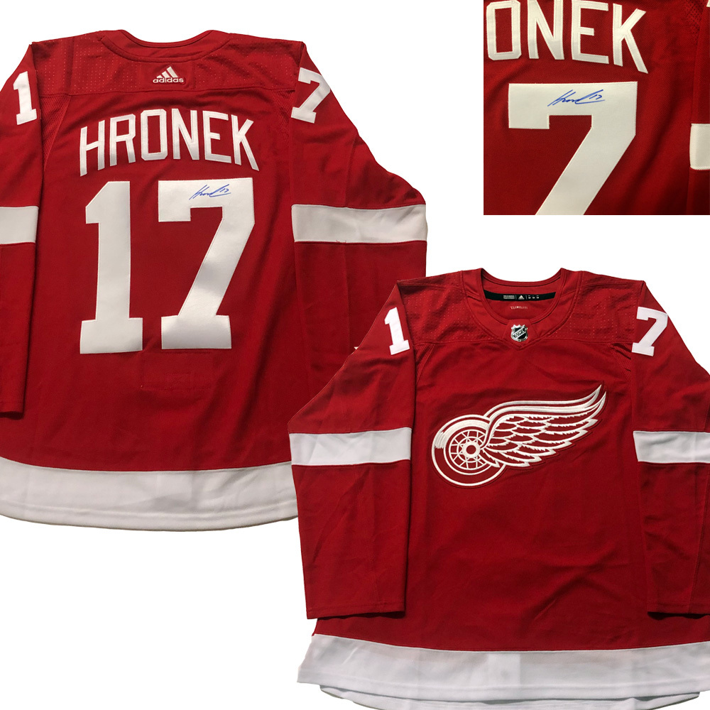 FILIP HRONEK Signed Detroit Red Wings Red Adidas Pro Jersey