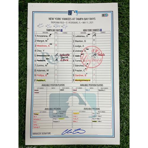 Photo of Game Used Lineup Card: Jordan Montgomery (W, 6.0IP, 9 SO) and Aroldis Chapman (S, 1.0IP, 1 SO) - Mike Zunino (7), Aaron Judge (8) and Gary Sanchez (4) Home Runs - May 11, 2021 v NYY