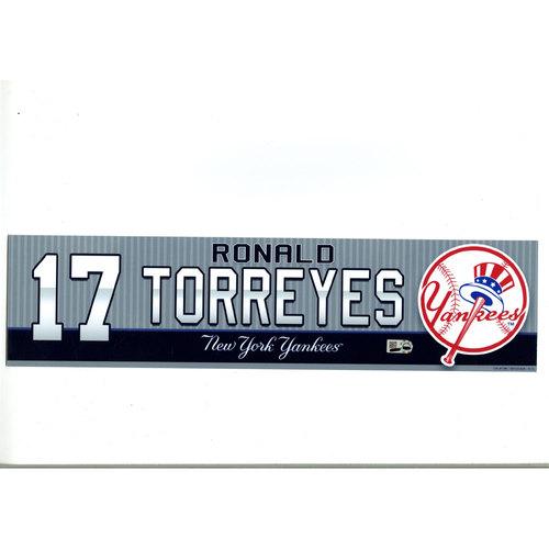Ronald Torreyes New York Yankees 2016 Game-Used #17  Locker Room Nameplate (4/5/2016)