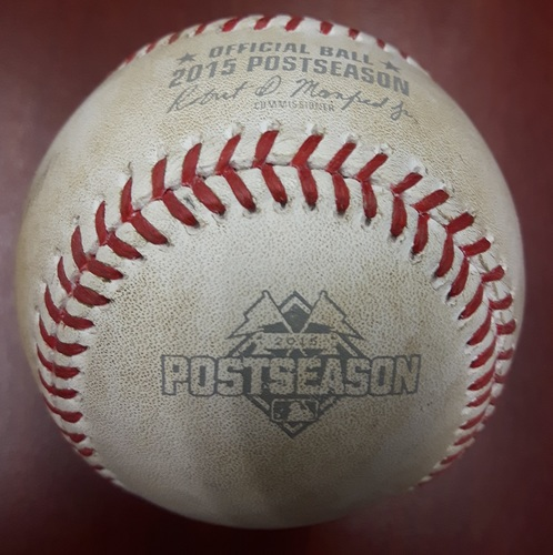 Photo of Authenticated Game Used Postseason Baseball (2015 ALCS Game 4) - Foul ball by Kendrys Morales against Liam Hendriks (Top 3).