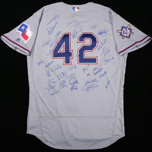 Photo of 2018 Jackie Robinson Day Jersey - Texas Rangers Team Autographed Jersey