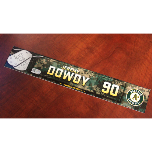 Photo of Jeremy Dowdy 2018 Team Issued Memorial Day Locker Nameplate