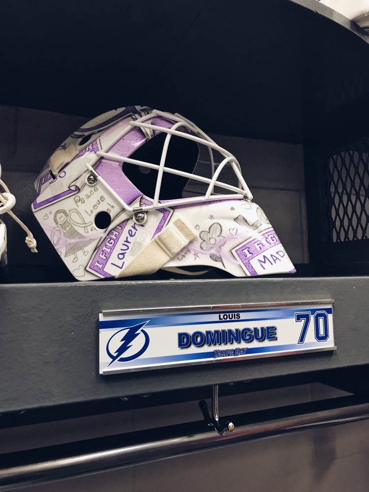 newest collection d4b54 aad68 Louis Domingue Tampa Bay Lightning 2018 Hockey Fights Cancer ...