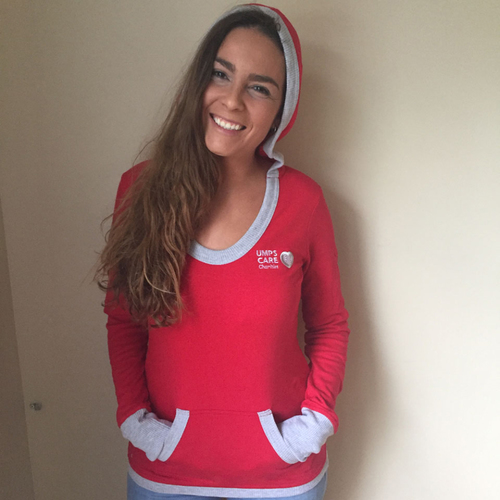 Photo of UMPS CARE AUCTION: UMPS CARE Logo Antigua Vibe Women's Scoopneck Hoodie, Red, Size Large
