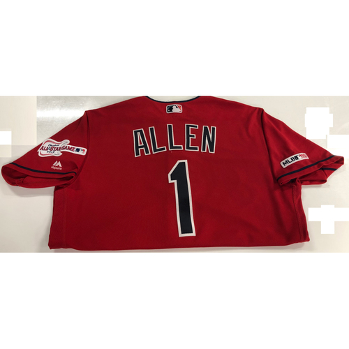 Photo of Greg Allen Game Used Jersey - Home Opener (4/1/19)