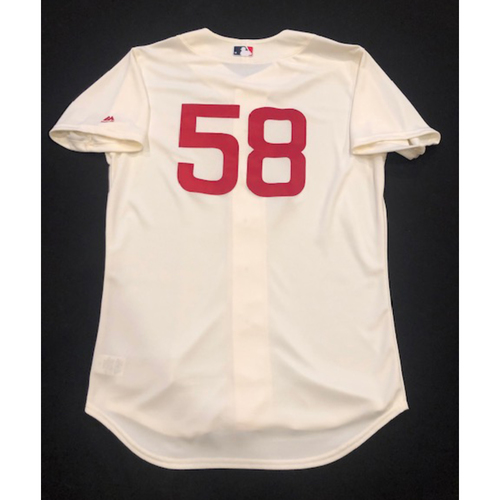 Photo of Luis Castillo -- Game-Used 1936 Throwback Jersey -- Cubs vs. Reds on June 30, 2019 -- Jersey Size 46