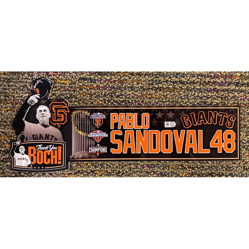 Photo of 2019 Team Issued Thank You BOCH! Locker Tag - #48 Pablo Sandoval