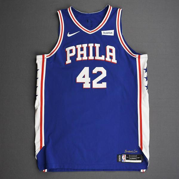 Image of Al Horford - Philadelphia 76ers - Kia NBA Tip-Off 2019 - Game-Worn Icon Edition Jersey - 76ers' Debut