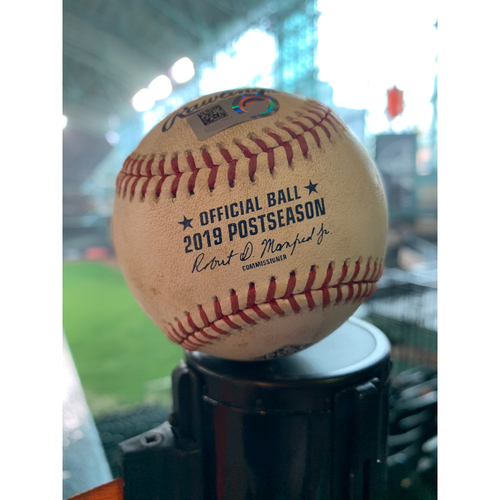 Photo of 2019 Game-Used Baseball Game 2 ALCS 10/13/19 Astros vs. Yankees: Justin Verlander to Gleyber Torres - Top 6th (Single to LF)