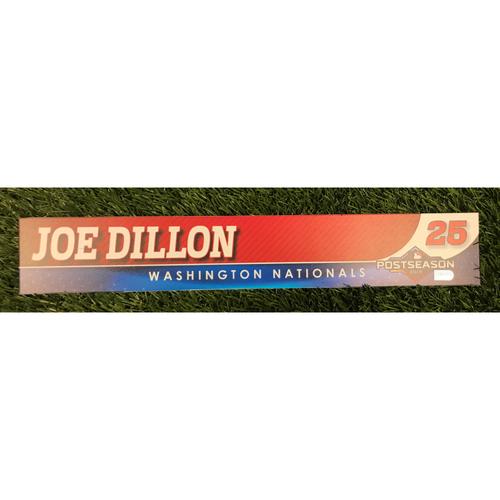 Photo of Game-Used Joe Dillon 2019 Postseason Locker Tag