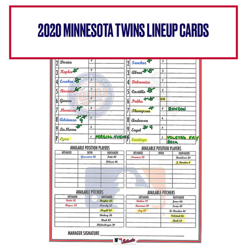 Photo of 2020 Minnesota Twins Game-Used Lineup Card - Choose your Game Date!