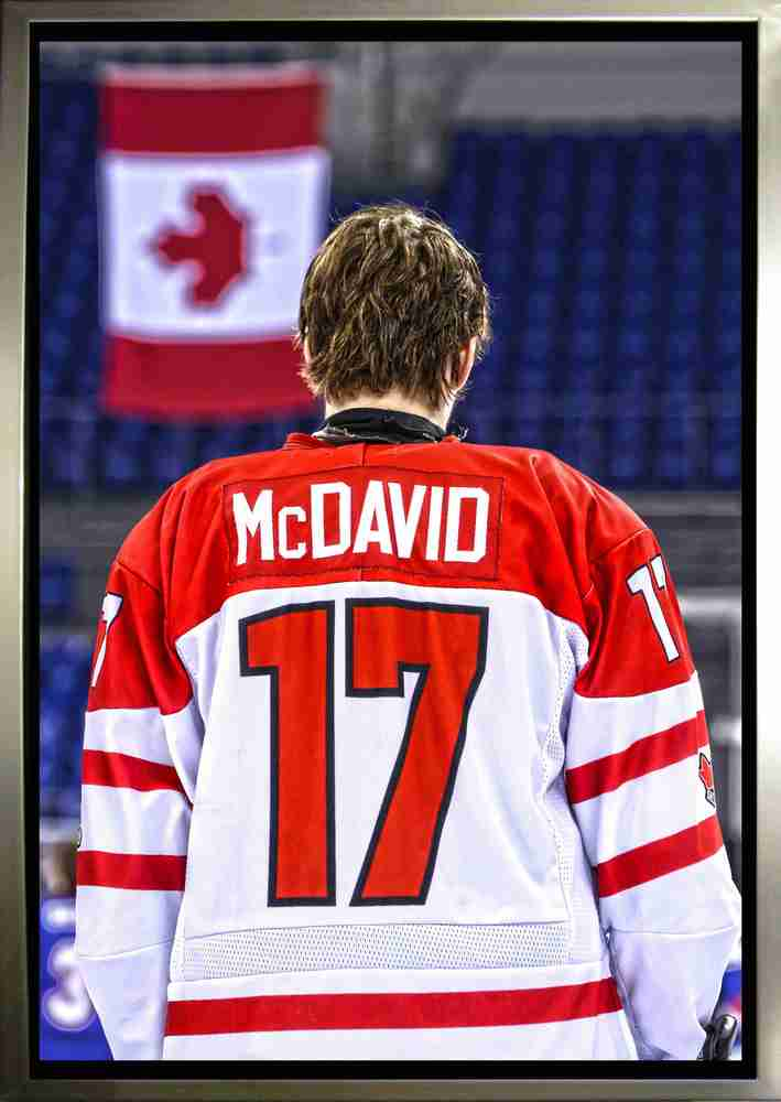 Connor McDavid - Framed 20x29 Team Canada Jersey Back Canvas - NHL ...