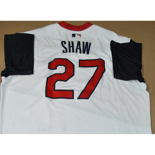 Photo of Game-used Jersey - 2021 Little League Classic - Los Angeles Angels vs. Cleveland Indians - 8/22/2021 - Great Lakes, Bryan Shaw #27