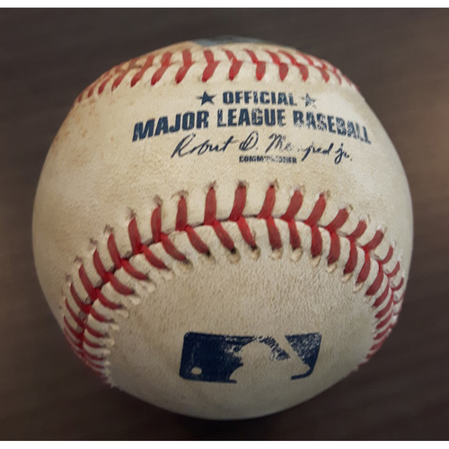 Photo of Authenticated Game Used Baseball - Single by #18 Darwin Barney vs. Heath Hembree. Bottom of the 6th inning. (April 18, 2017)