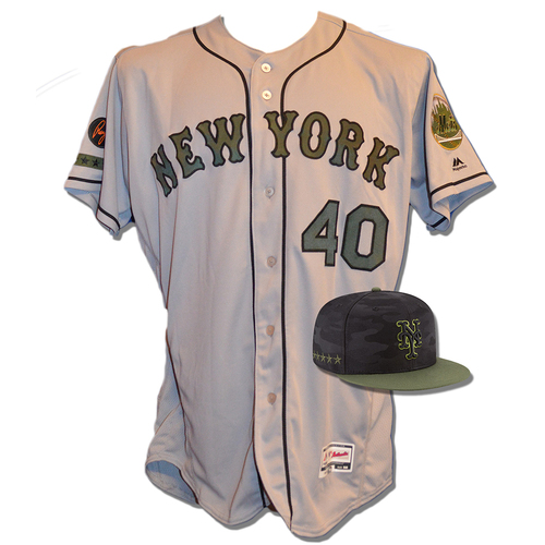Photo of Jason Vargas #40 - Game Used Road Grey Memorial Day Jersey and Hat - Mets vs. Braves - 5/28/18