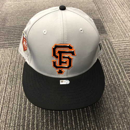 Photo of 2018 Team-Issued Gray Spring Training Cap - #35 Brandon Crawford - Size 7 3/8