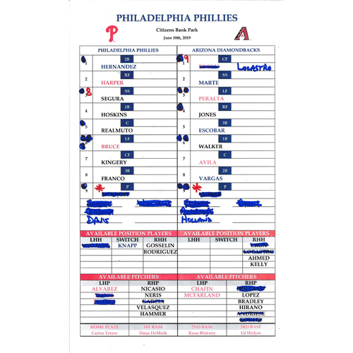 Photo of 2019 Official Phillies Lineup Card - MLB Record 13 Home Run Game (June 10, 2019)