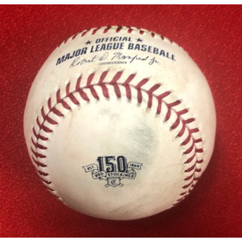 Photo of Aristides Aquino -- Game-Used Baseball -- Aristides Aquino RBI-Single off Jon Lester in 3rd Inning -- Cubs vs. Reds on Aug. 11, 2019