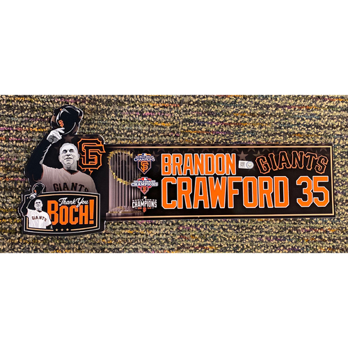 Photo of 2019 Game Used Thank You BOCH! Locker Tag - #35 Brandon Crawford
