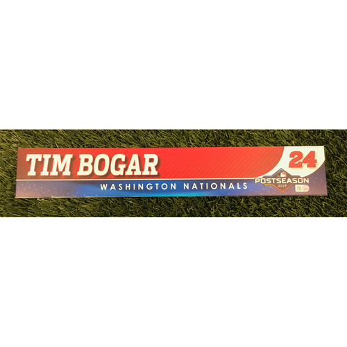Photo of Game-Used Tim Bogar 2019 Postseason Locker Tag