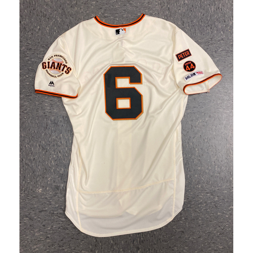 Photo of 2019 Game Used Home Opening Day Cream Jersey worn by #6 Steven Duggar on 4/5 vs. Tampa Bay Rays - 1-5, RBI, 2B - Size 44