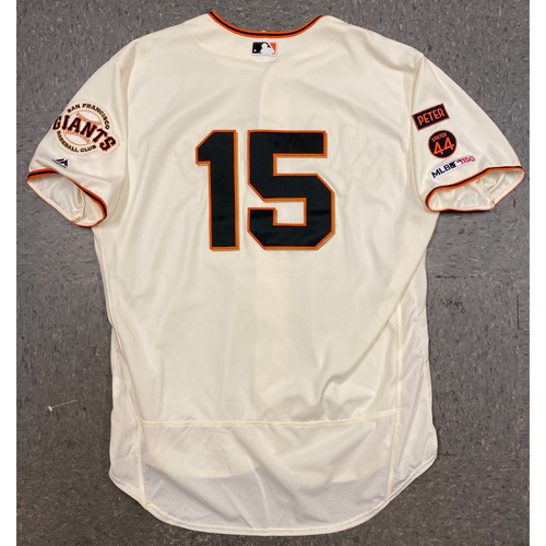 Photo of 2019 Game Used Home Cream Jersey worn by #15 Bruce Bochy on 9/1 vs. San Diego Padres - Size 52
