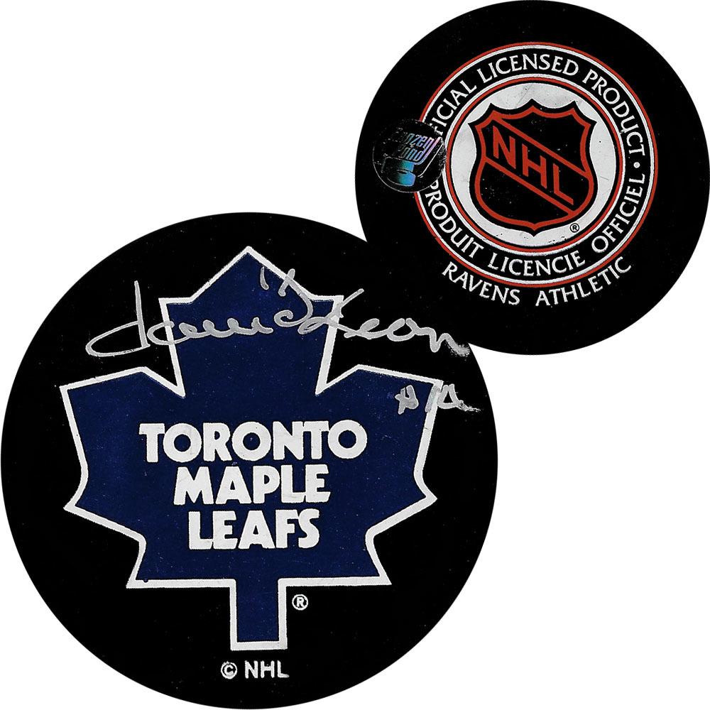 Dave Keon Autographed Toronto Maple Leafs Vintage Ravens Athletic Puck