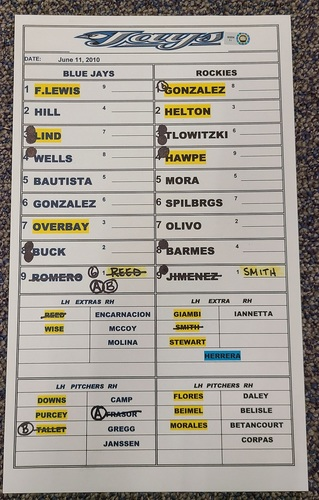 Photo of Authenticated Replica Lineup Card (June 11, 2010 at COL): Ubaldo Jimenez moves to 12-1 on the Season