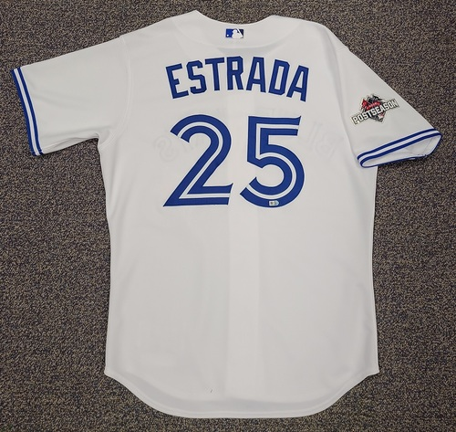 Photo of Authenticated Game Used Jersey: #25 Marco Estrada (Sept. 25, 2015). Size 46. Jersey features 2015 Postseason Patch.