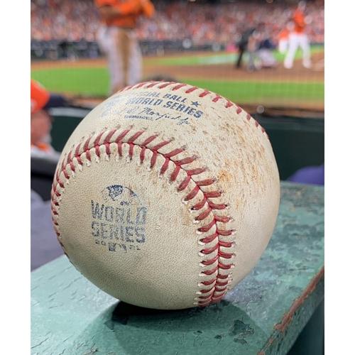 Photo of 2021 World Series - Atlanta Braves vs. Houston Astros - Game 2 - Pitcher: Jose Urquidy, Batters: Eddie Rosario/Freddie Freeman - Top 1, Strikeout Swinging/Strikeout Looking