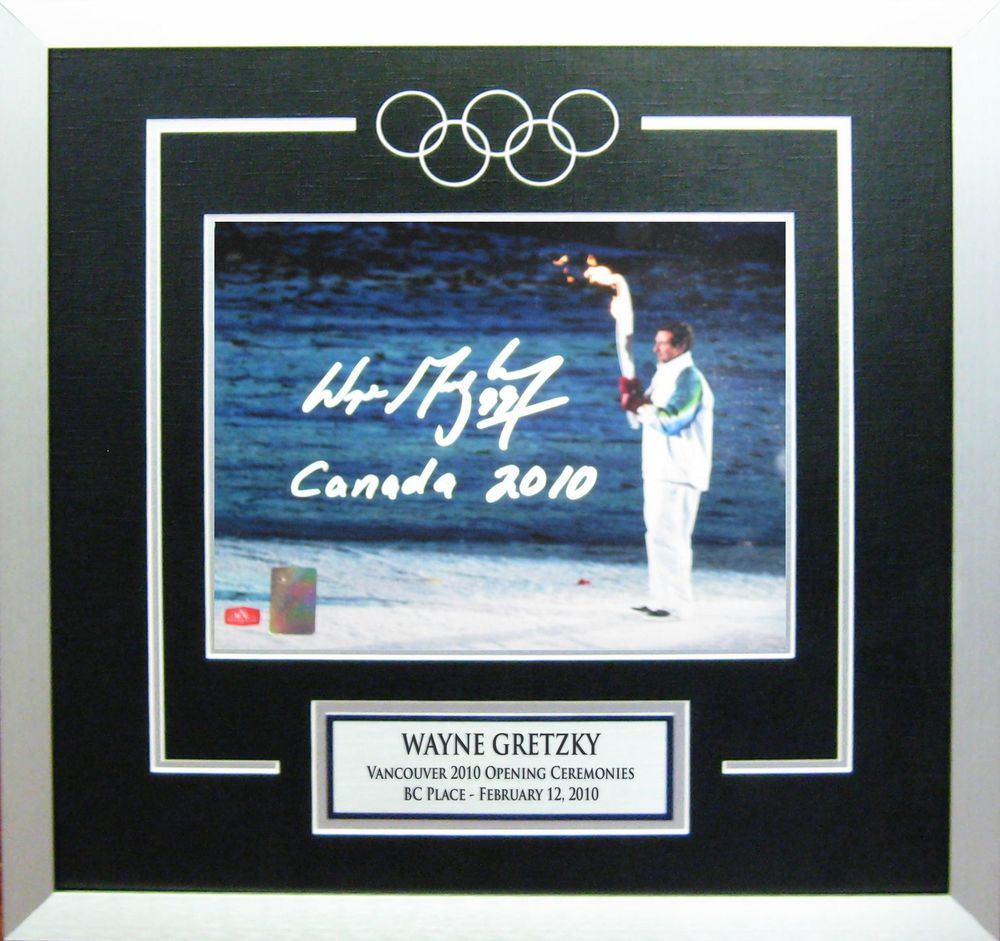Wayne Gretzky - Signed & Framed 8x10 Etched Mat -  2010 Olympics Torch Inscribed Canada 2010
