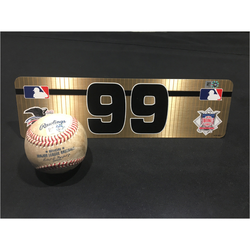 Aaron Judge Set: #99 Visiting Nameplate and Game-Used Hit Ball (5/18/17)