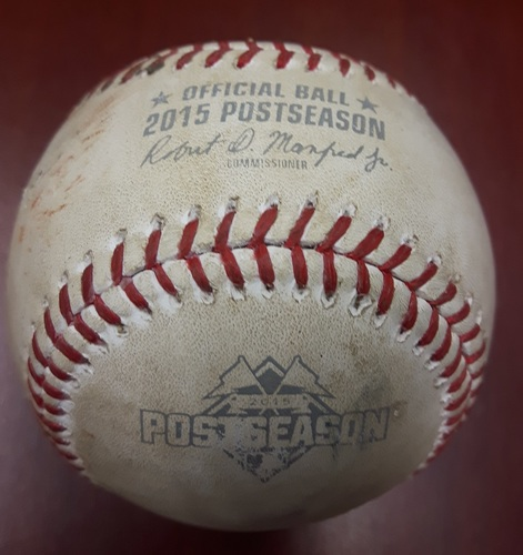 Photo of Authenticated Game Used Postseason Baseball (2015 ALCS Game 5) - Pitch in the Dirt from Aaron Sanchez to Alcides Escobar (Top 8).