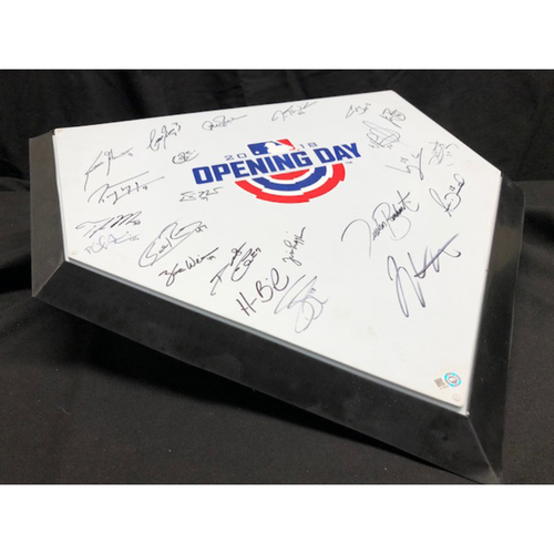 Photo of Reds Team-Signed 2018 Opening Day Commemorative Home Plate -- Autographs Include Votto, Suarez, Barnhart, Duvall and Many More