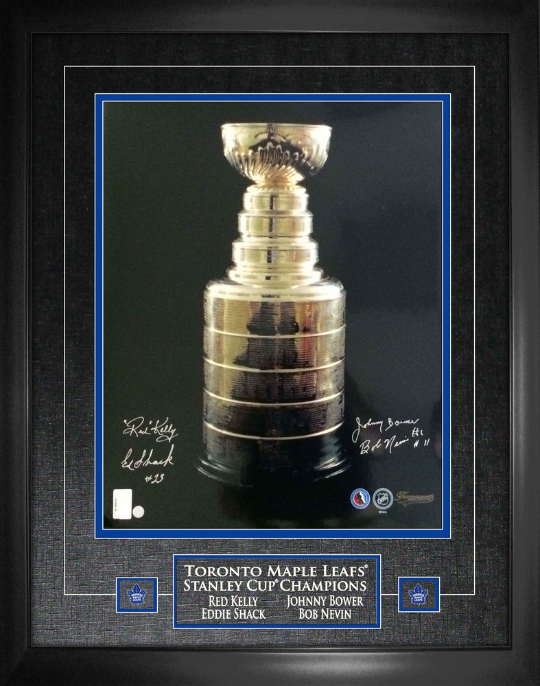 Toronto Leafs Multi-signed 16x20 Stanley Cup Bower/Shack/Kelly/Nevin