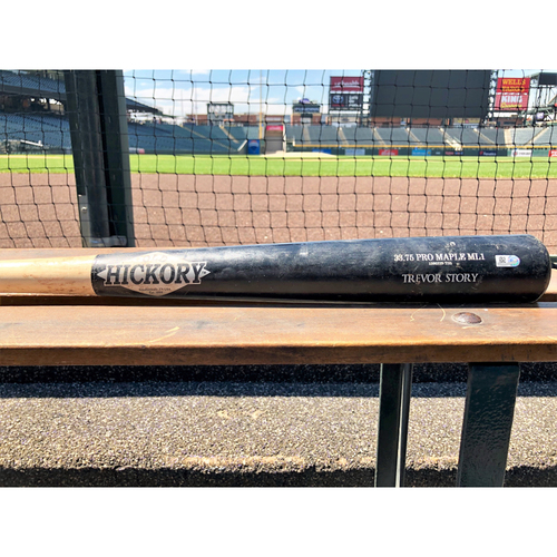 Photo of Colorado Rockies Game-Used Broken Bat - Trevor Story - Single to Span (Pitcher: Wade LeBlanc) - July 14, 2018