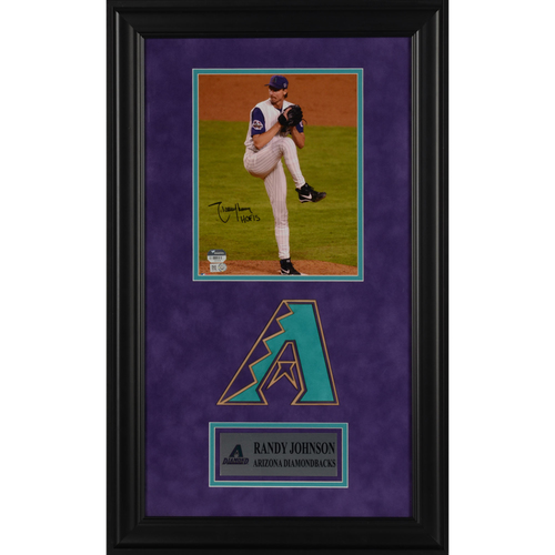 "Photo of Randy Johnson Arizona Diamondbacks Deluxe Framed Autographed 8"" x 10"" Photo with HOF15 Inscription"