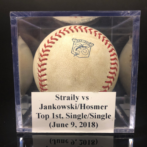 Photo of Game-Used Baseball: Straily vs Jankowski/Hosmer, Top 1st, Single/Single (June 9, 2018)