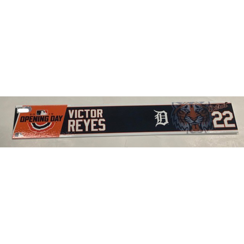 Photo of Team-Issued 2019 Opening Day Locker Name Plate: Victor Reyes