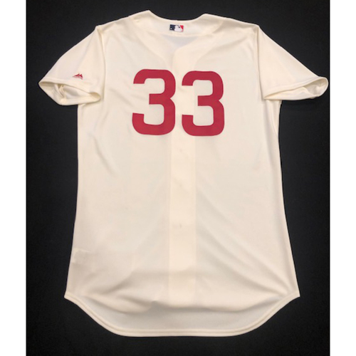 Photo of Jesse Winker -- Game-Used 1936 Throwback Jersey (Pinch-Hitter) -- Cubs vs. Reds on June 30, 2019 -- Jersey Size 44