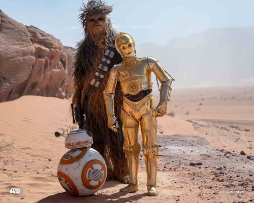 C-3PO, Chewbacca and BB-8