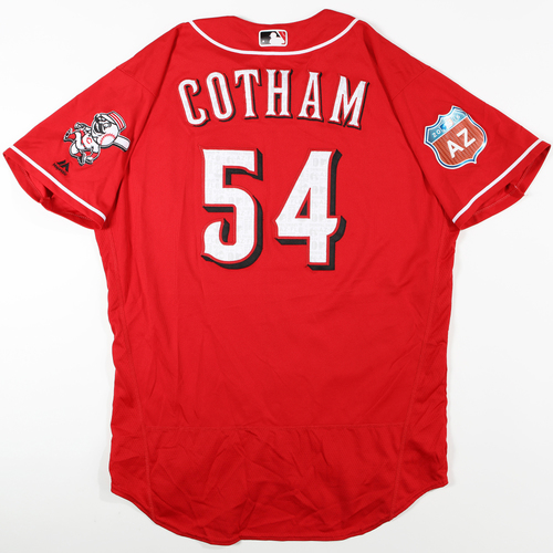 Photo of 2016 Spring Training - Spring Training Game Used Jersey - Caleb Cotham (Reds)- Size- 48